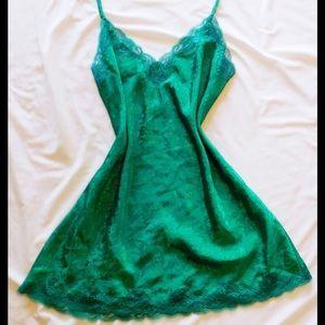 Vintage VS Gold Label Satin Emerald Chemise / Slip